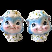 Vintage Lefton MISS PRISS Kitten Cat With Hat Salt & Pepper Shaker Set Japan
