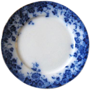 "Antique Flow Blue VERMONT Luncheon Plate (s)  9"" Burgess & Leigh Staffordshire"