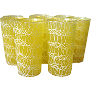"Set of 8 Vintage Spaghetti String Glass Tumblers Rubberized Color Craft Shat-R-Pruf 5 1/2"" 12 oz"