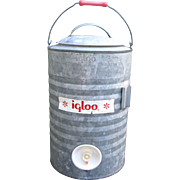 Vintage IGLOO Galvanized Metal Cooler 3 Gallon Spigot Container Camping