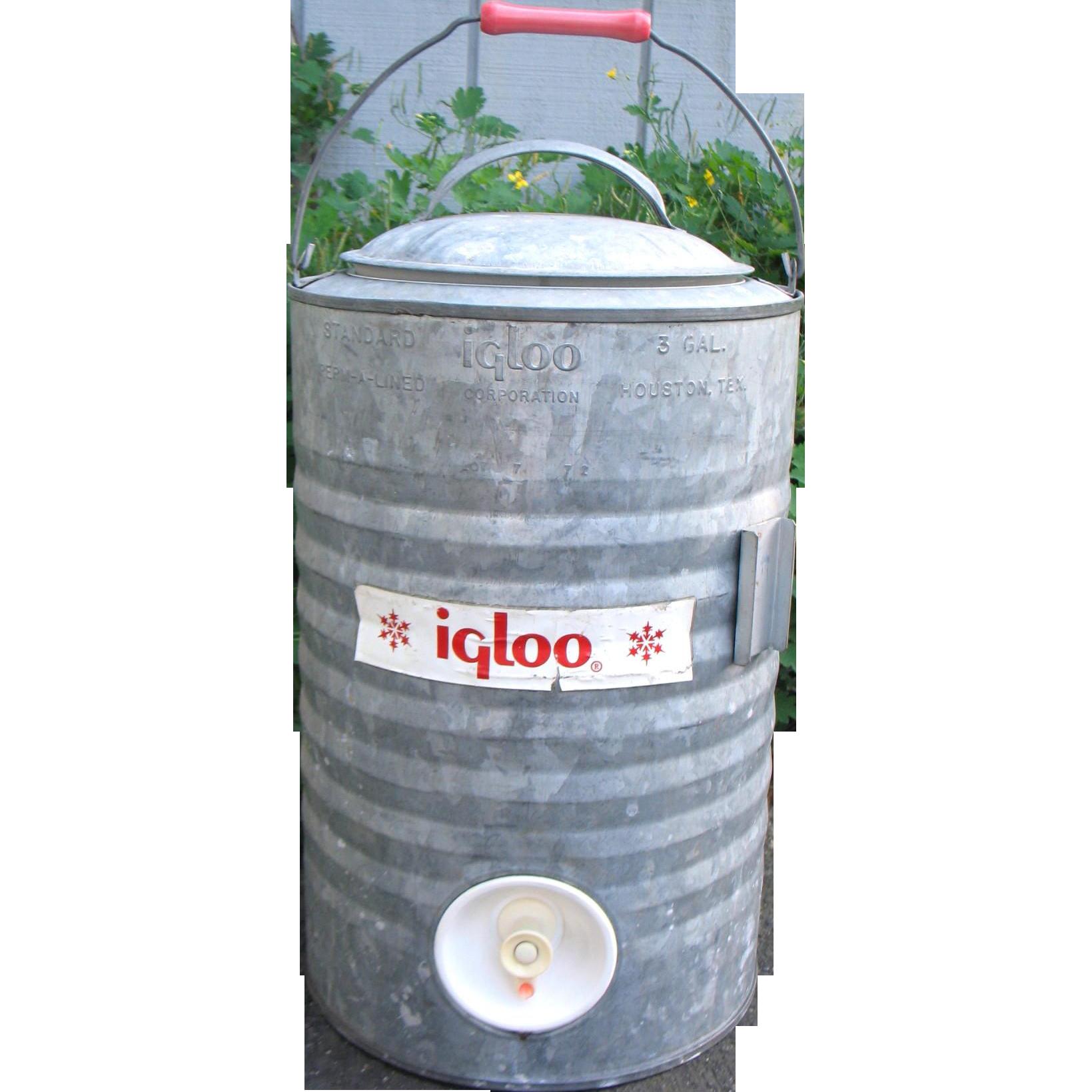vintage igloo galvanized metal cooler 3 gallon spigot