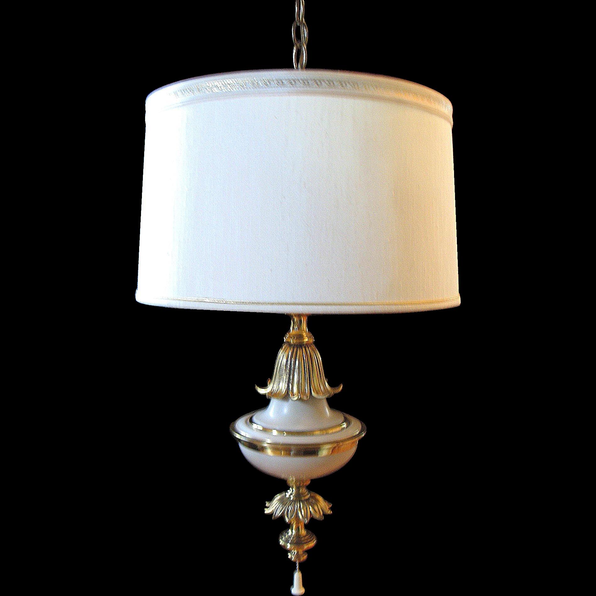 Vintage Stiffel Ceiling Lamp Light Fixture Hollywood Regency Brass