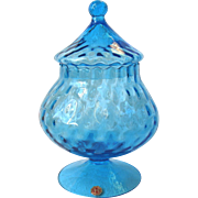 Vintage Empoli Italy Art Glass Blue Candy Jar Diamond Optic