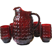 Depression Glass Ruby Red BUBBLE Pitcher & 4 Flat Tea Tumblers  Anchor Hocking