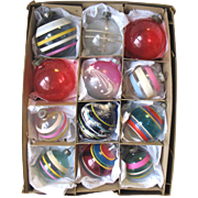 Set of 12 Vintage Glass Christmas Ornaments Unsilvered WWII Era Large & Small Assortment USA