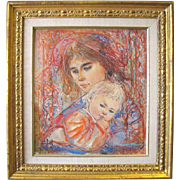 Edna Hibel Woman & Child Print  42/1000 Ltd ED Framed Marianne & Danielle 1978