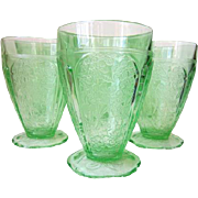 "Set of 6 Depression Glass CHERRY BLOSSOM Green Tumblers 8 oz 4 1/2"" Scallop Foot"