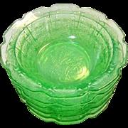 "Set of 6 Depression Glass CHERRY BLOSSOM Green Small Fruit Dessert Bowl 4 3/4"""