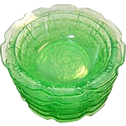 Set of 6 Depression Glass CHERRY BLOSSOM Green Small Fruit Dessert Bowl 4 3/4""