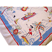 Vintage Florida Map Tablecloth Souvenir Table Cloth 42 x 45