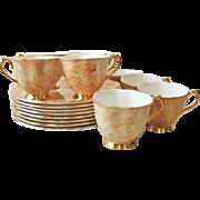 Set of 8 Royal Albert Plate & Cup Snack Sets Gossamer Butterscotch