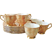 Set of 8 Royal Albert Plate & Cup Snack Sets Gossamer Butterscotch
