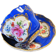 Antique Meissen Cup & Saucer Blue Gold Flowers Insects Crossed Swords