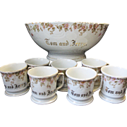 Antique Carlsbad Austria Porcelain Tom & Jerry Punch Bowl With 8 Mugs Christmas Eggnog Cocktail