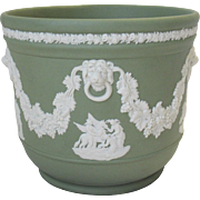 Wedgwood Jasperware Green & White Grecian Scenes Flower Pot Bowl Cachepot Celadon