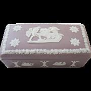 Wedgwood Jasperware Lilac Purple Match Holder Trinket Box Cherubs