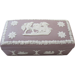 Wedgwood Jasperware Lilac Purple Match Holder Trinket Box Cherubs