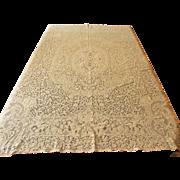 Vintage Quaker Lace Tablecloth Angels Cherubs Romantic People 62 x 78 Ecru