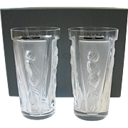 Boxed Set 2 Lalique Muses High Ball Tumbler Glass Muse Women Panels