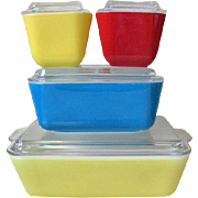 Vintage Pyrex Refrigerator Dish Set Primary Colors With Lids Yellow Red Blue 8 Piece