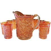 Imperial Carnival Glass Lustre Rose Pitcher & 8 Tumbler Water Set Marigold