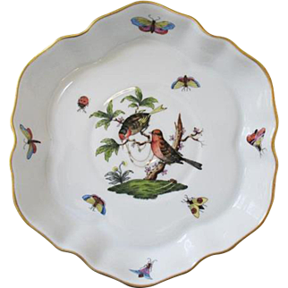 "Herend Rothschild Bird Bon Bon Dish Bowl 6"" Butterflies Insects #331"
