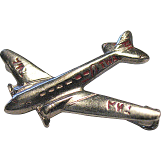 Vintage TWA Airlines Airplane Pin Propeller Plane