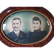 "Large Antique Oval Wood Frame Tiger Stripe Convex Bubble Glass 25"" x 19"" With Couple Portrait"