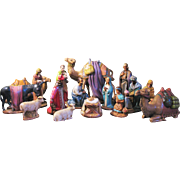Vintage Christmas Large Nativity Set Figurines 16 Piece Holland Mold Hand Painted