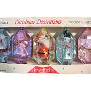 Boxed Set of 5 Vintage Jewel Brite Christmas Ornaments  Plastic Diorama 3D