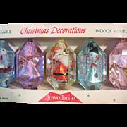 Boxed Set of 5 Vintage Jewel Brite Christmas Ornaments  Plastic Diorama 3D