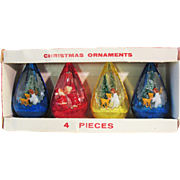 Boxed Set of 4 Vintage Jewel Brite Plastic Christmas Ornaments 3D Diorama Angels Santa