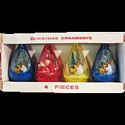 Boxed Set of 4 Vintage Jewel Brite Plastic Christmas Ornaments 3D Diorama Angels Santa