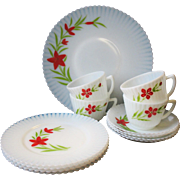 Depression Glass Petalware Macbeth Evans Florette 13 Piece  Cake Plate Teacup Saucer Set