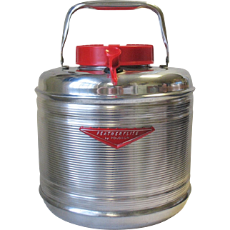 Vintage New 1960'S POLORON FEATHERFLITE Aluminum Picnic Camping Thermos Cooler Jug