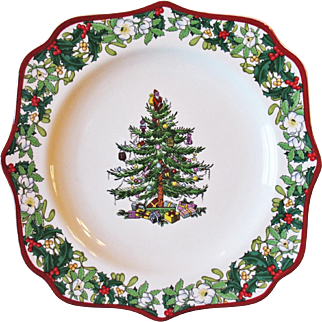 """Spode Christmas Tree Plate Square Fancy 9"""" New In Box"""