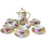 Meissen Crossed Swords Pink Rose Demitasse Coffee Pot Set for 6 Teapot Cups & Saucers