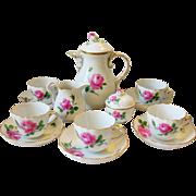 Meissen Pink Rose Demitasse Coffee Tea Set for 6 Crossed Swords