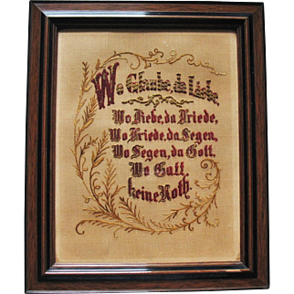 Old Victorian German Paper Punch & Embroidery & Beads Sampler Prayer House Blessing