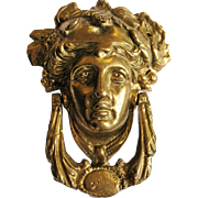 Solid Brass Figural Door Knocker Bacchus Head Man Face Victorian Look