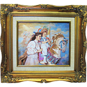 Sandra Kuck MEMORIES Signed Framed Print on Porcelain Plaque Painting Franklin Mint