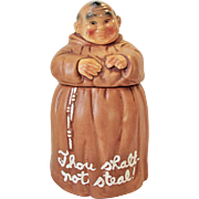 Vintage Cookie Jar Monk Friar Tuck THOU SHALT NOT STEAL!