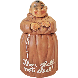 Vintage Cookie Jar Monk Friar Tuck THOU SHALT NOT STEAL!