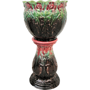 Brush McCoy Pottery Jardiniere & Pedestal Planter Roses Blended Black Green Mauve Red Majolica