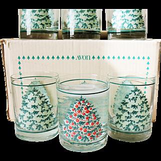 Set of 6 Avon Christmas Barware Magic Glasses Tumbler Trees Color Changing Ornaments 1985 Boxed