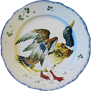 Antique French Faience Luneville Mallard Duck Plate Les Coqs K & G
