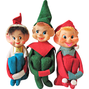Set of 3 Vintage Christmas Knee Hugger Elf Elves Pixies
