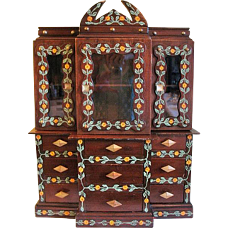 "Vintage Folk Art Wood Jewelry Box Chest Display Cabinet  24"""