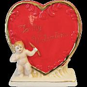 Vintage Valentine Day Planter Vase Heart Cupid