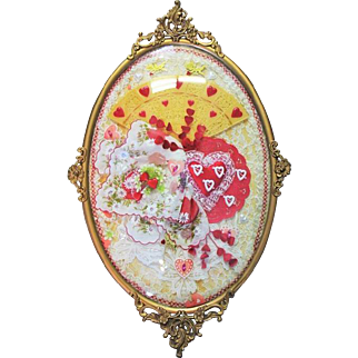 Large Vintage Frame Convex Glass Valentines Day Art Collage Hankie Lace